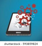 gears icon breaking through... | Shutterstock .eps vector #593859824