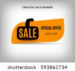 creative sale banner with... | Shutterstock .eps vector #593862734