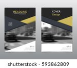 gold matte annual report cover. ... | Shutterstock .eps vector #593862809
