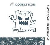 halloween tree doodle drawing | Shutterstock .eps vector #593866241