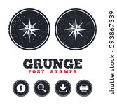 Grunge Post Stamps. Compass...