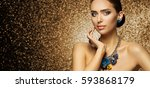 fashion model makeup portrait ... | Shutterstock . vector #593868179