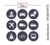 transport icons. car  bike  bus ... | Shutterstock .eps vector #593870975