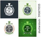 st. patricks day badge design.... | Shutterstock .eps vector #593879555