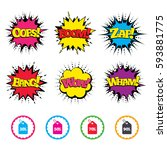 comic wow  oops  boom and wham... | Shutterstock .eps vector #593881775