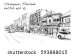 sketch of cityscape show street ... | Shutterstock .eps vector #593888015