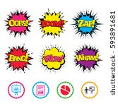 comic wow  oops  boom and wham... | Shutterstock .eps vector #593891681
