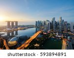 aerial view of singapore... | Shutterstock . vector #593894891