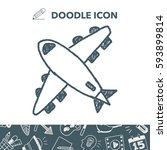 doodle airplane | Shutterstock .eps vector #593899814