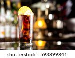 rum cola casual cocktail with... | Shutterstock . vector #593899841