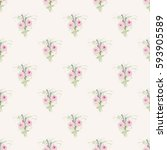 seamless floral background with ... | Shutterstock .eps vector #593905589