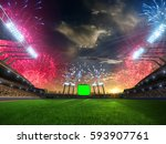 stadium sunset  with people... | Shutterstock . vector #593907761