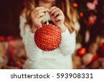 red large ball for christmas... | Shutterstock . vector #593908331