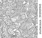 cartoon cute doodles hand drawn ... | Shutterstock .eps vector #593909945