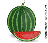 juicy watermelon isolated on... | Shutterstock .eps vector #593916995