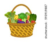 full basket with different... | Shutterstock .eps vector #593919887