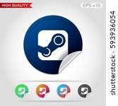 colored icon or button of steam ... | Shutterstock .eps vector #593936054