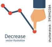 decrease graph. businessman... | Shutterstock .eps vector #593942384