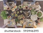 photo from the top of table... | Shutterstock . vector #593946395