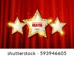 retro light sign. three gold... | Shutterstock .eps vector #593946605