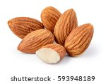 closeup of almonds  isolated on ... | Shutterstock . vector #593948189