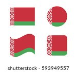set 4 flags of belarus | Shutterstock .eps vector #593949557