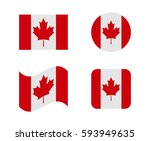 set 4 flags of canada | Shutterstock .eps vector #593949635