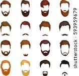 men cartoon hairstyles with... | Shutterstock . vector #593959679