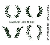 set of hand drawn laurel wreath ... | Shutterstock .eps vector #593965469