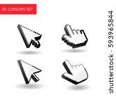 3d cursors set. pixel mouse... | Shutterstock .eps vector #593965844