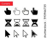 mouse cursors set. pixel... | Shutterstock .eps vector #593966735