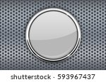 white glass button with chrome... | Shutterstock . vector #593967437