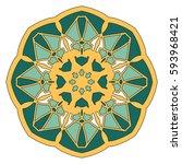 pattern a mandala in flat style ... | Shutterstock .eps vector #593968421