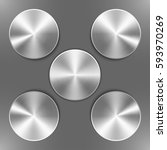 set of round silver disks with... | Shutterstock .eps vector #593970269