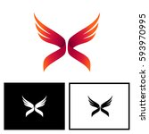 letter x with wing logo vector | Shutterstock .eps vector #593970995