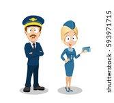 flight crew members  pilot ... | Shutterstock .eps vector #593971715