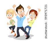 happy people group dancing with ... | Shutterstock .eps vector #593971721