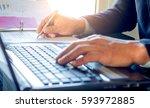 closeup hands checking document ... | Shutterstock . vector #593972885