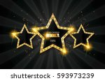 winner. retro light sign. three ... | Shutterstock .eps vector #593973239