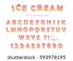 ice cream font. cute wafer... | Shutterstock .eps vector #593978195