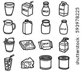 milk product  objects  icons... | Shutterstock .eps vector #593978225