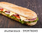 sandwich on a wooden | Shutterstock . vector #593978345