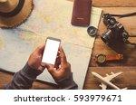 using mobile search for travel...   Shutterstock . vector #593979671