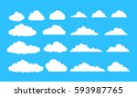 clouds set flat illustration on ... | Shutterstock .eps vector #593987765