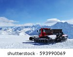 snowcat or piste machine... | Shutterstock . vector #593990069