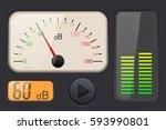 decibel gauge. vector 3d... | Shutterstock .eps vector #593990801