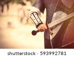 strong knight hand with...   Shutterstock . vector #593992781