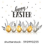 happy easter greeting card.... | Shutterstock .eps vector #593993255