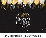 easter eggs with ornaments in... | Shutterstock .eps vector #593993351