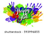 happy holi on a background of... | Shutterstock .eps vector #593996855